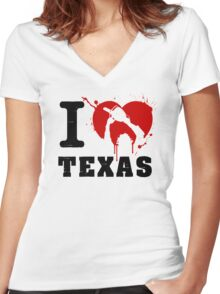 I Heart Texas Women's Fitted V-Neck T-Shirt
