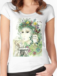 Blodeuedd, Celtic woman of owls and flowers Women's Fitted Scoop T-Shirt