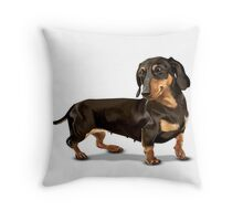 The Happy Dachshund Throw Pillow