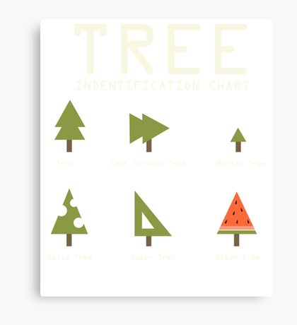 Funny Sarcastic Tree Identification Chart for Happy Campers Graphic Tee Shirt Canvas Print
