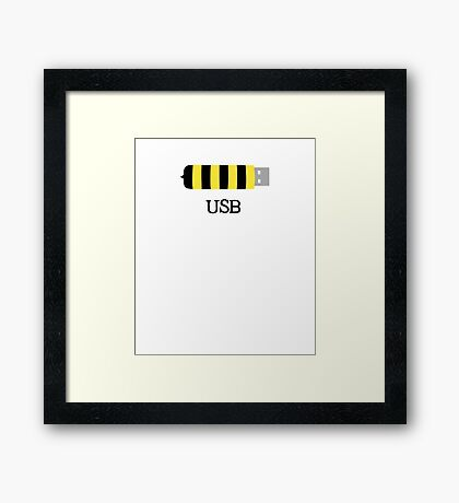 USB Bee Save the Bees Funny Sarcastic Illustrated Pun Graphic Tee Shirt Framed Print
