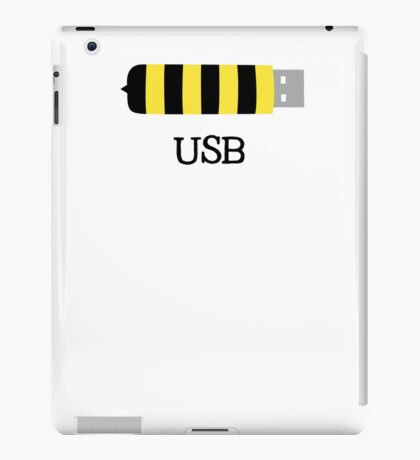 USB Bee Save the Bees Funny Sarcastic Illustrated Pun Graphic Tee Shirt iPad Case/Skin