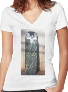 S.A.S.A. Christ over the city Women's Fitted V-Neck T-Shirt
