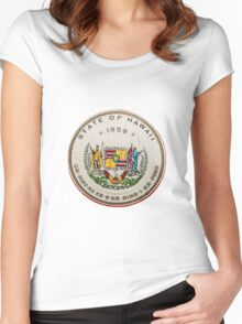 Vintage State Of Hawaii Badge Women's Fitted Scoop T-Shirt