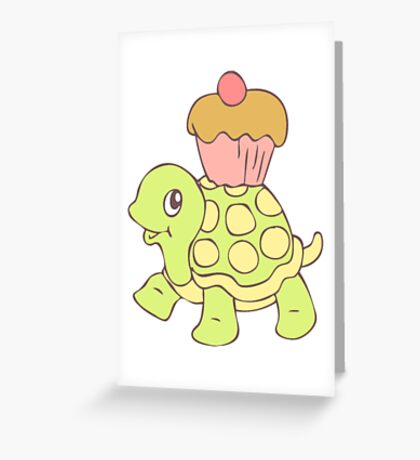 Turtle With Cupcake Funny Turtle Shirt Greeting Card