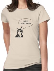 Write Right Meow - This Cat Says Womens Fitted T-Shirt