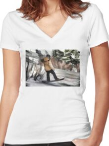 Getting Air  -  Snowboarder Women's Fitted V-Neck T-Shirt