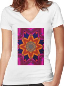 Abstract 0215b Women's Fitted V-Neck T-Shirt