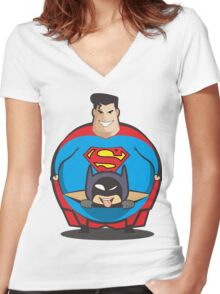 Superman Vs Batman Women's Fitted V-Neck T-Shirt