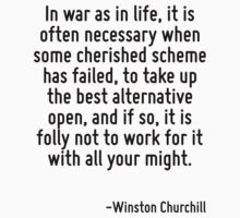 In war as in life, it is often necessary when some cherished scheme has failed, to take up the best alternative open, and if so, it is folly not to work for it with all your might. by Quotr