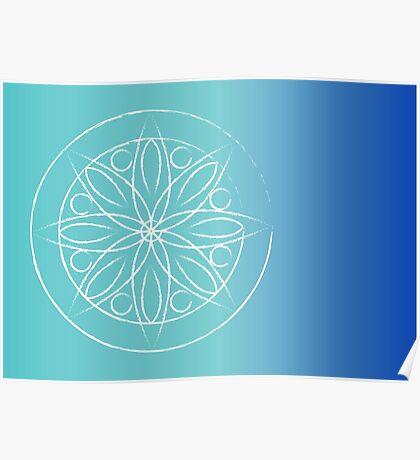 Mandala on blue Poster