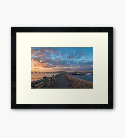 Harbor Walk Sunset  Framed Print