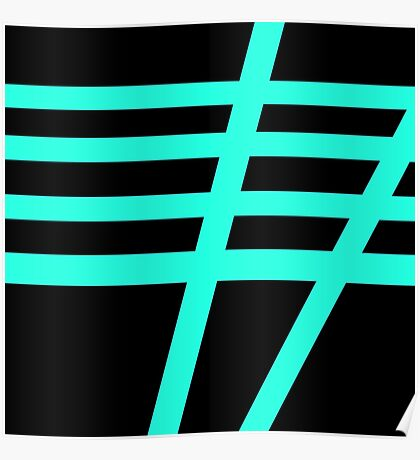 Black and Tiffany Blue Stripe Poster