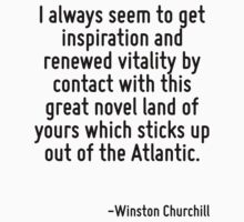 I always seem to get inspiration and renewed vitality by contact with this great novel land of yours which sticks up out of the Atlantic. by Quotr