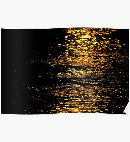 Shimmering Gold Water Poster
