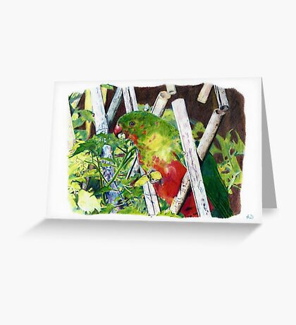 Parrot eating vegetables Greeting Card