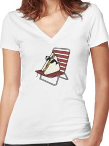 Cool Guy Sandwich Women's Fitted V-Neck T-Shirt
