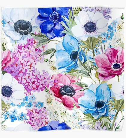 blue and pink floral Poster
