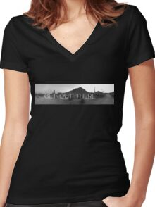 Get Out Women's Fitted V-Neck T-Shirt