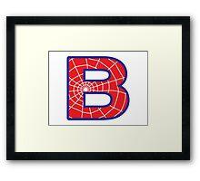 B letter in Spider-Man style Framed Print