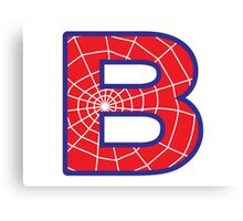 B letter in Spider-Man style Canvas Print