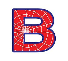 B letter in Spider-Man style Photographic Print