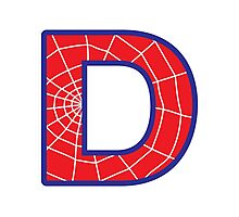 D letter in Spider-Man style Photographic Print