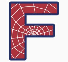 F letter in Spider-Man style by Stock Image Folio