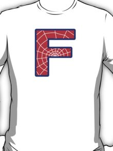 F letter in Spider-Man style T-Shirt