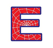 E letter in Spider-Man style Photographic Print