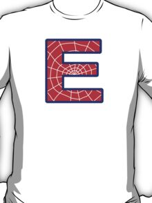 E letter in Spider-Man style T-Shirt