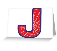 J letter in Spider-Man style Greeting Card