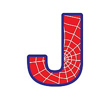 J letter in Spider-Man style Photographic Print