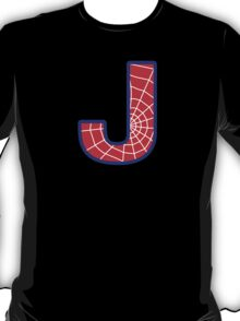 J letter in Spider-Man style T-Shirt