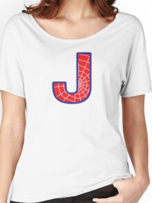 J letter in Spider-Man style Women's Relaxed Fit T-Shirt