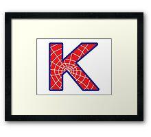 K letter in Spider-Man style Framed Print