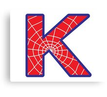 K letter in Spider-Man style Canvas Print