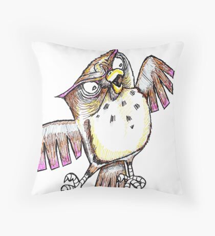 Wise Owl with Gel Pen Throw Pillow