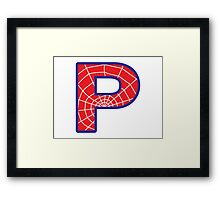 P letter in Spider-Man style Framed Print