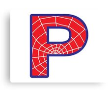 P letter in Spider-Man style Canvas Print