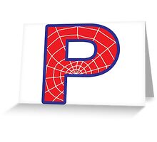 P letter in Spider-Man style Greeting Card