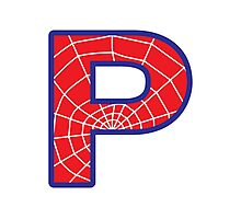 P letter in Spider-Man style Photographic Print
