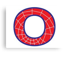 O letter in Spider-Man style Canvas Print