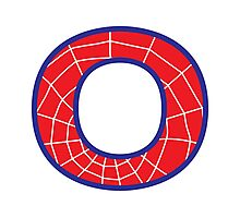 O letter in Spider-Man style Photographic Print