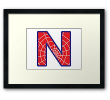 N letter in Spider-Man style Framed Print