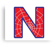 N letter in Spider-Man style Canvas Print