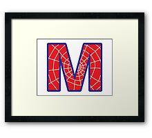 M letter in Spider-Man style Framed Print