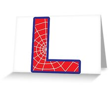 L letter in Spider-Man style Greeting Card