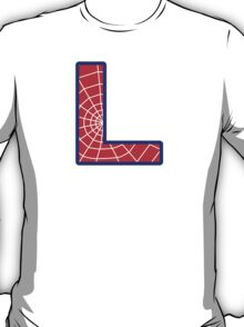 L letter in Spider-Man style T-Shirt
