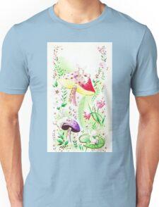 "Vintage ""Fairy, Easter Bunny Wonderland"" - Buns, Rabbit, White, Fluffy, Mushrooms, Toadstools, 'Shrooms, Green, Flowers, Garden, Fairy tale, Magical, Retro,  Unisex T-Shirt"